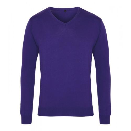 Premier Men´s V-neck Knitted Sweater Purple