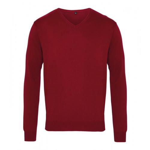 Premier Men´s V-neck Knitted Sweater Burgundy