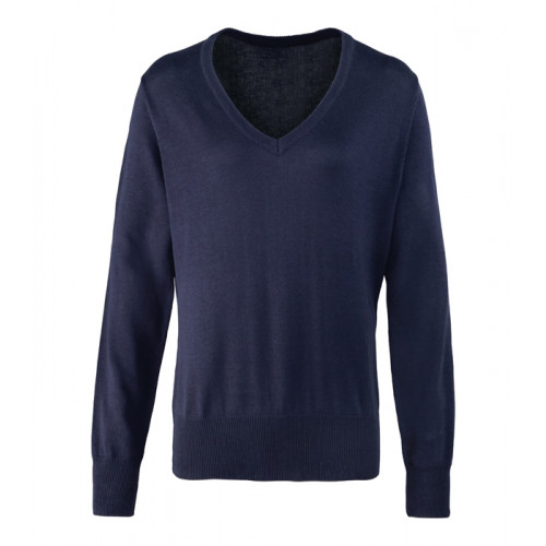 Premier Ladies V-neck Knitted Sweater Navy