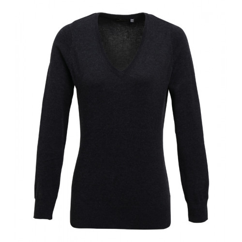 Premier Ladies V-neck Knitted Sweater Charcoal