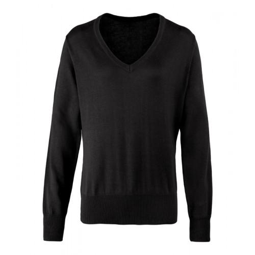 Premier Ladies V-neck Knitted Sweater Black