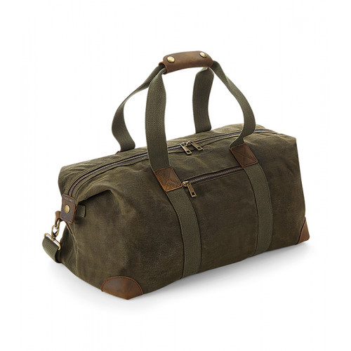 Quadra Heritage Waxed Canvas Holdall Olive Green