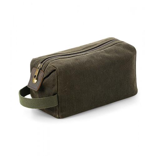 Quadra Heritage Waxed Canvas Wash Bag Olive Green