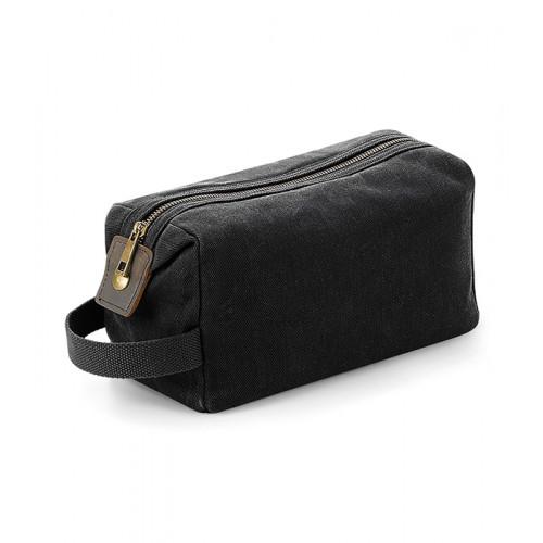 Quadra Heritage Waxed Canvas Wash Bag Black