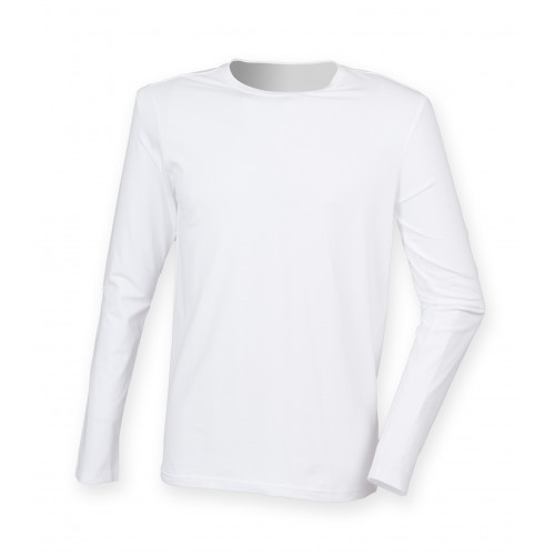 Skinnifit Men`s Feel Good Long Sleeved Stretch T White