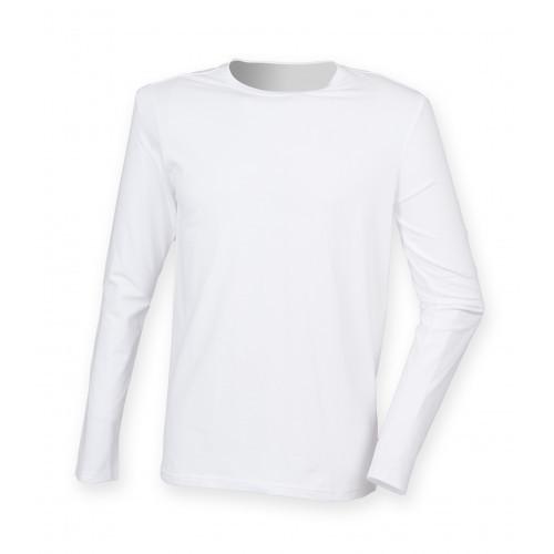 Skinnifit Men`s Feel Good Long Sleeved Stretch T White