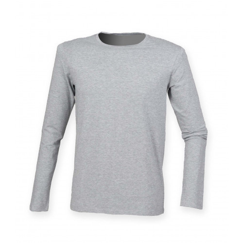 Skinnifit Men`s Feel Good Long Sleeved Stretch T Heather Grey