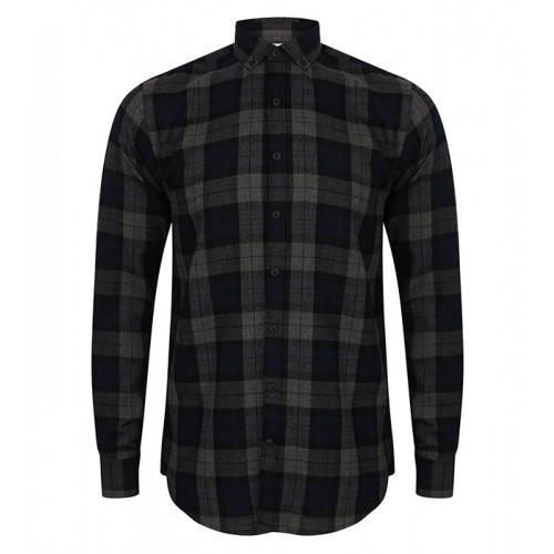 Skinni Fit Men's Brushed Check Casual Shirt Navy