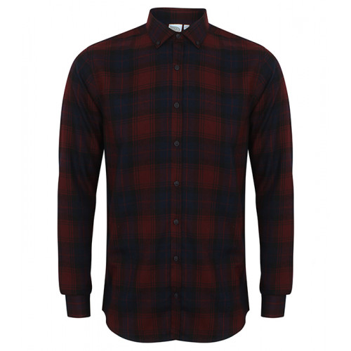 Skinni Fit Men's Brushed Check Casual Shirt Burgundy