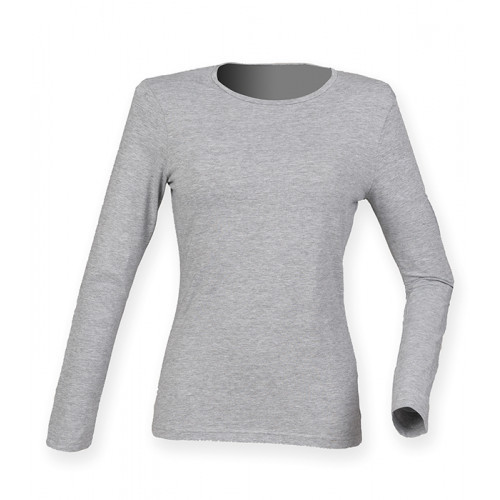 Skinni Fit Ladies` Feel Good Long Sleeved Stretch T White