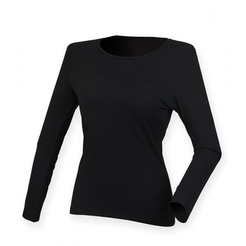 Skinni Fit Ladies` Feel Good Long Sleeved Stretch T Black