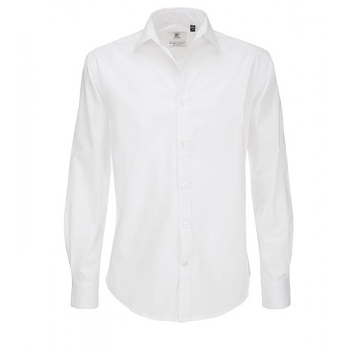 B and C Collection Black Tie Long Sleeve Shirt White