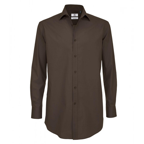 B and C Collection Black Tie Long Sleeve Shirt COFFEE BEAN