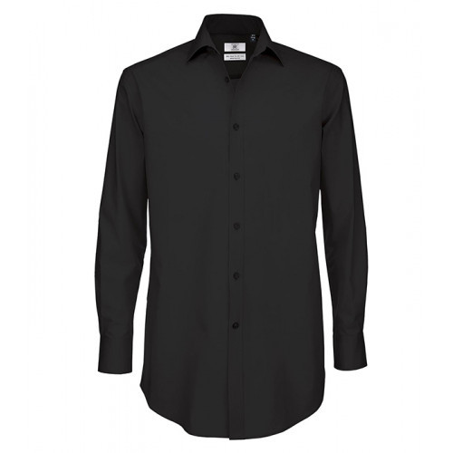B and C Collection Black Tie Long Sleeve Shirt Black
