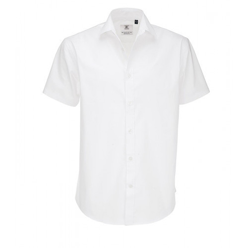 B and C Collection Black Tie Short Sleeve Shirt White