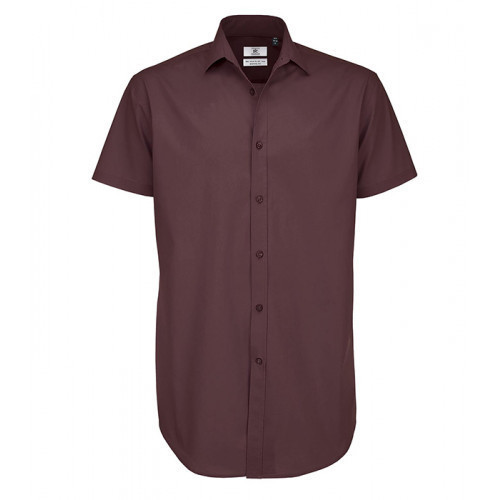 B and C Collection Black Tie Short Sleeve Shirt LUXURIOUS RED