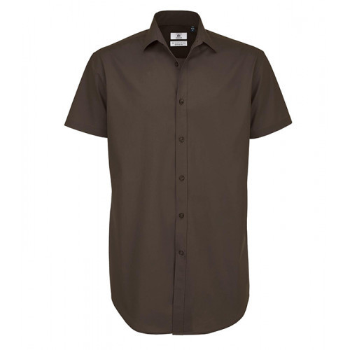 B and C Collection Black Tie Short Sleeve Shirt COFFEE BEAN