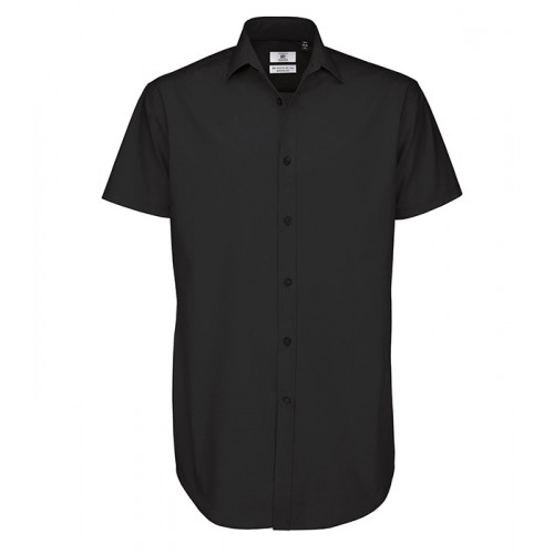 B and C Collection Black Tie Short Sleeve Shirt Black