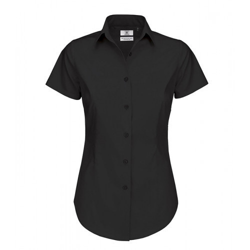 B and C Collection Black Tie Ladies Short Sleeve Shirt Black