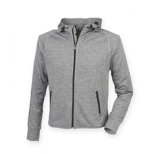 Tombo Men's Hoodie with Reflective Tape Grey Marl
