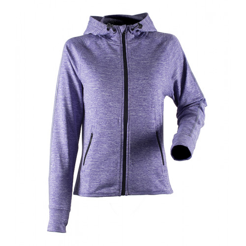 Tombo Ladies Hoodie with Reflective Tape Purple Marl