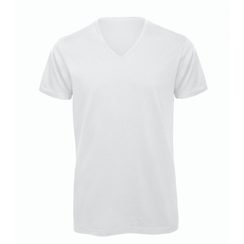 B and C Collection Men's 100% Organic V-neck Cotton Tee White