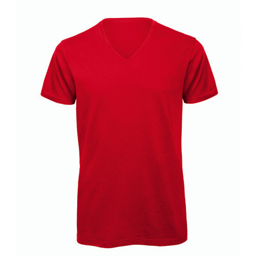 B and C Collection Men's 100% Organic V-neck Cotton Tee RED
