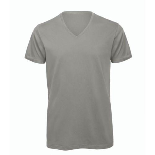 B and C Collection Men's 100% Organic V-neck Cotton Tee LIGHT GREY
