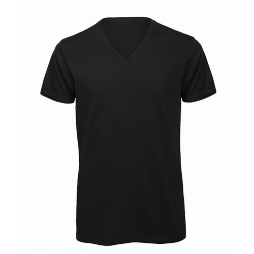 B and C Collection Men's 100% Organic V-neck Cotton Tee Black
