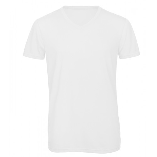 B and C Collection Men's V-neck Triblend White