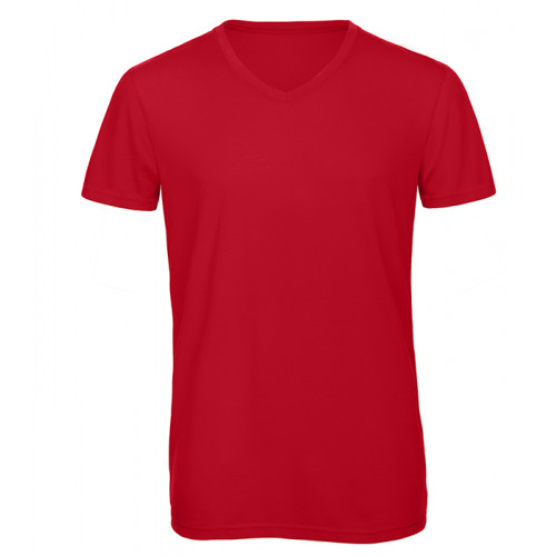 B and C Collection Men's V-neck Triblend RED