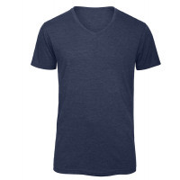 B and C Collection Men's V-neck Triblend HEATHER NAVY 24