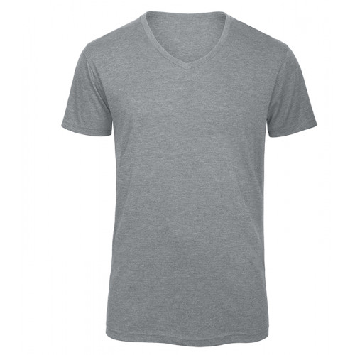 B and C Collection Men's V-neck Triblend HEATHER LIGHT GREY 93