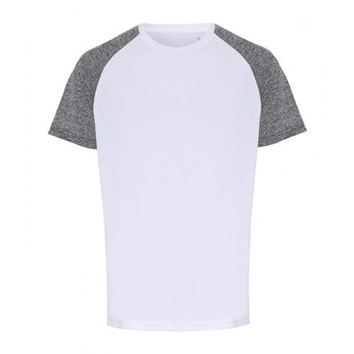 Tri Dri Mens TriDri ® Contrast Sleeve Performance Tshirt White/Black Melange