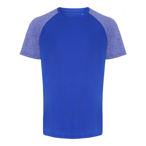 Tri Dri Mens TriDri ® Contrast Sleeve Performance Tshirt Royal/Blue Melange