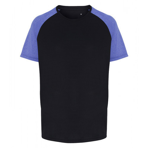 Tri Dri Mens TriDri ® Contrast Sleeve Performance Tshirt Navy/Blue Melange