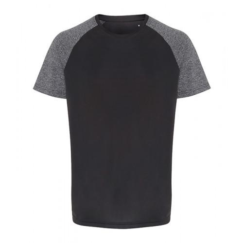 Tri Dri Mens TriDri ® Contrast Sleeve Performance Tshirt Charcoal/Black Melange