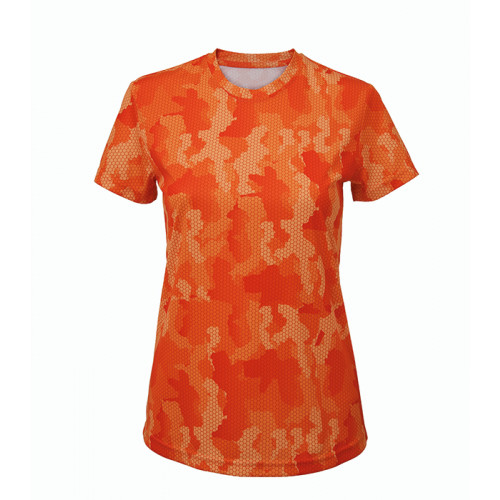 Tri Dri Women's TriDri Hexoflage™ performance t-shirt Camo Orange