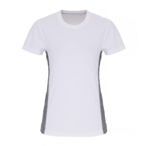 Tri Dri Ladies TriDri ® Contrast Panel Performance Tshirt White/Black Melange