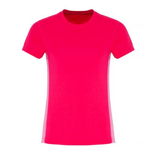 Tri Dri Ladies TriDri ® Contrast Panel Performance Tshirt Hot Pink/Pink Melange