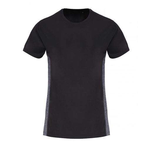 Tri Dri Ladies TriDri ® Contrast Panel Performance Tshirt Black/Black Melange