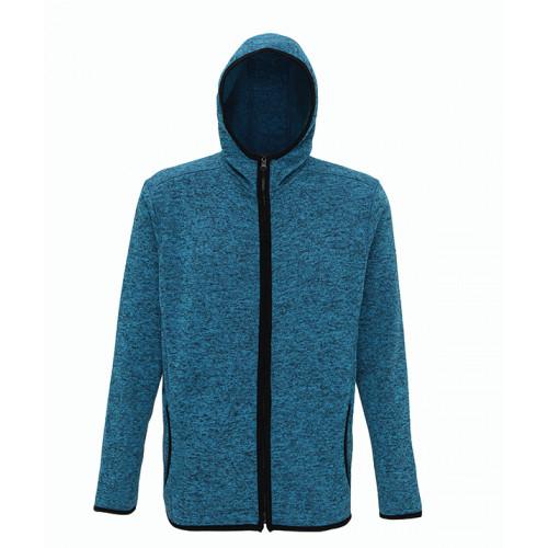 Tri Dri Men's melange knit fleece jacket Sapphire/Black
