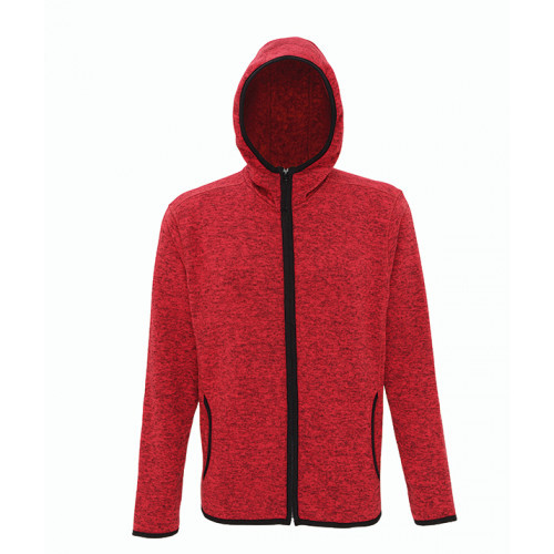 Tri Dri Men's melange knit fleece jacket Red/Black