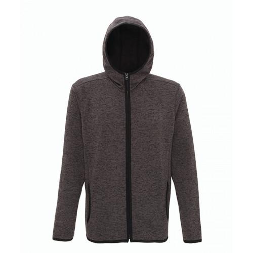 Tri Dri Men's melange knit fleece jacket Charcoal/Black