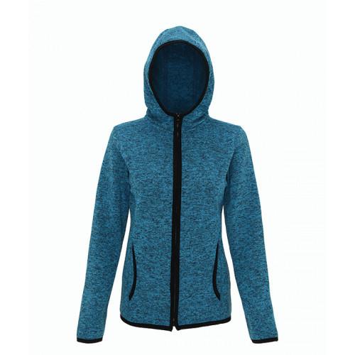 Tri Dri Women's melange knit fleece jacket Sapphire/Black
