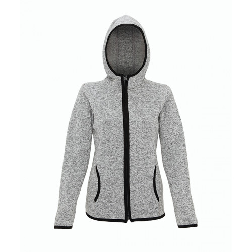 Tri Dri Women's melange knit fleece jacket Heather Grey/Black