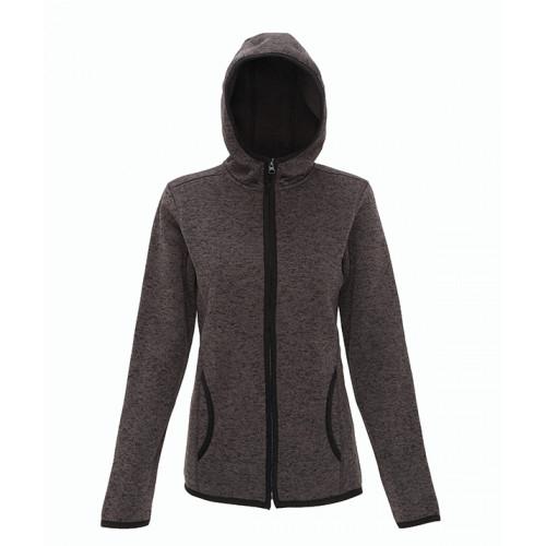 Tri Dri Women's melange knit fleece jacket Charcoal/Black