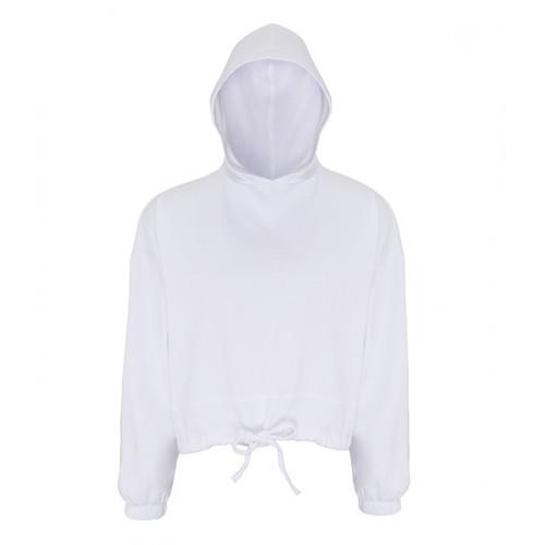 Tri Dri Womens Cropped Oversize Hoodie White