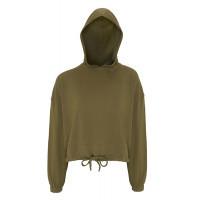 Tri Dri Womens Cropped Oversize Hoodie Olive