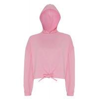 Tri Dri Womens Cropped Oversize Hoodie Light Pink